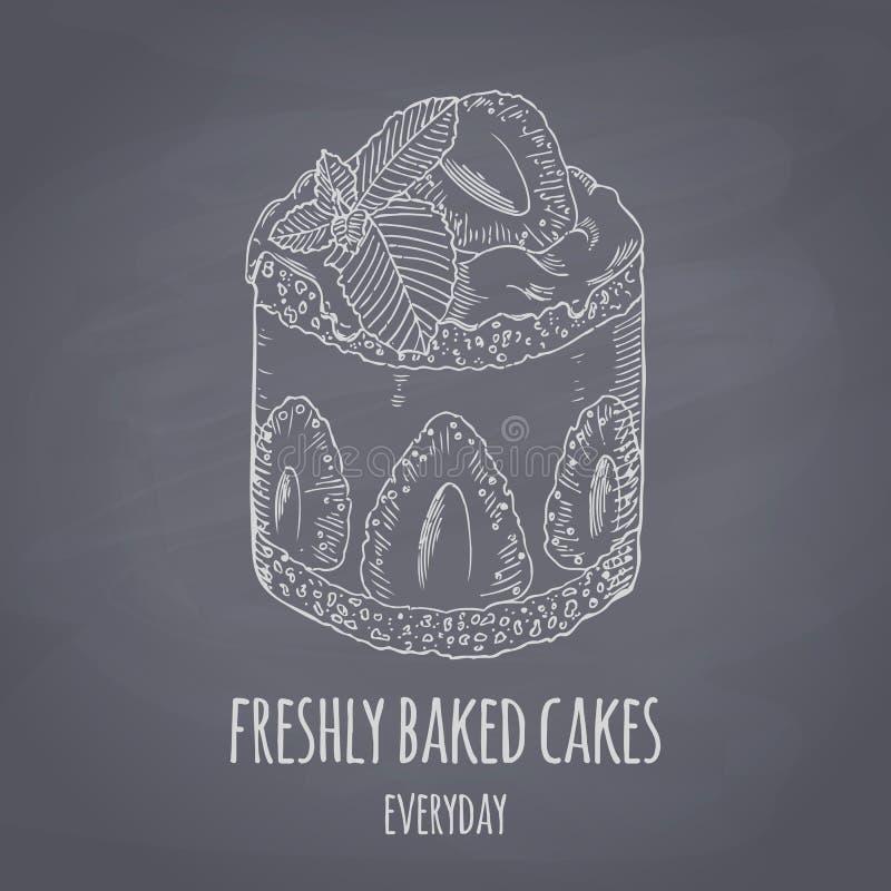 Gâteau tiré par la main avec la menthe d'isolement Llustration de vecteur de style de craie de dessert Fond de nourriture de tabl illustration libre de droits
