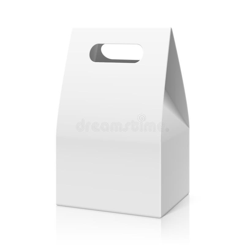 Gâteau vide blanc de main, sac de papier de empaquetage de pain illustration stock