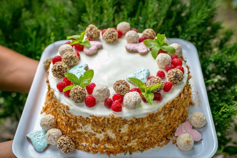 Gâteau vraiment fait main avec de la crème, candy's, feuilles, coeurs, noix de coco photographie stock libre de droits
