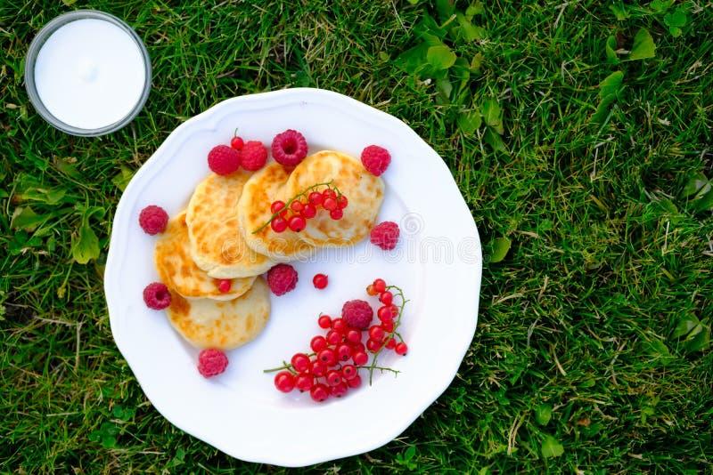 Gâteaux au fromage sains de petit déjeuner avec la crème sure et les baies photo libre de droits