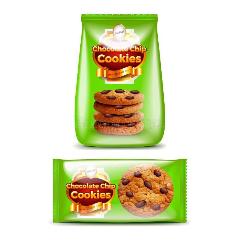 Gâteaux aux pépites de chocolat empaquetant le vecteur 3d réaliste illustration stock