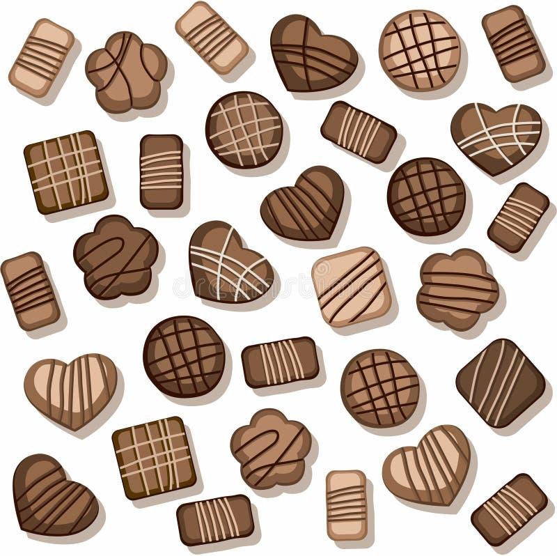 Gâteaux aux pépites de chocolat, fond sans couture, blanc, couleur illustration de vecteur