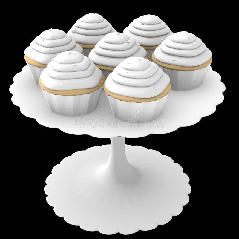 Gâteaux blancs sur le stand - 3d généré par ordinateur illustration de vecteur