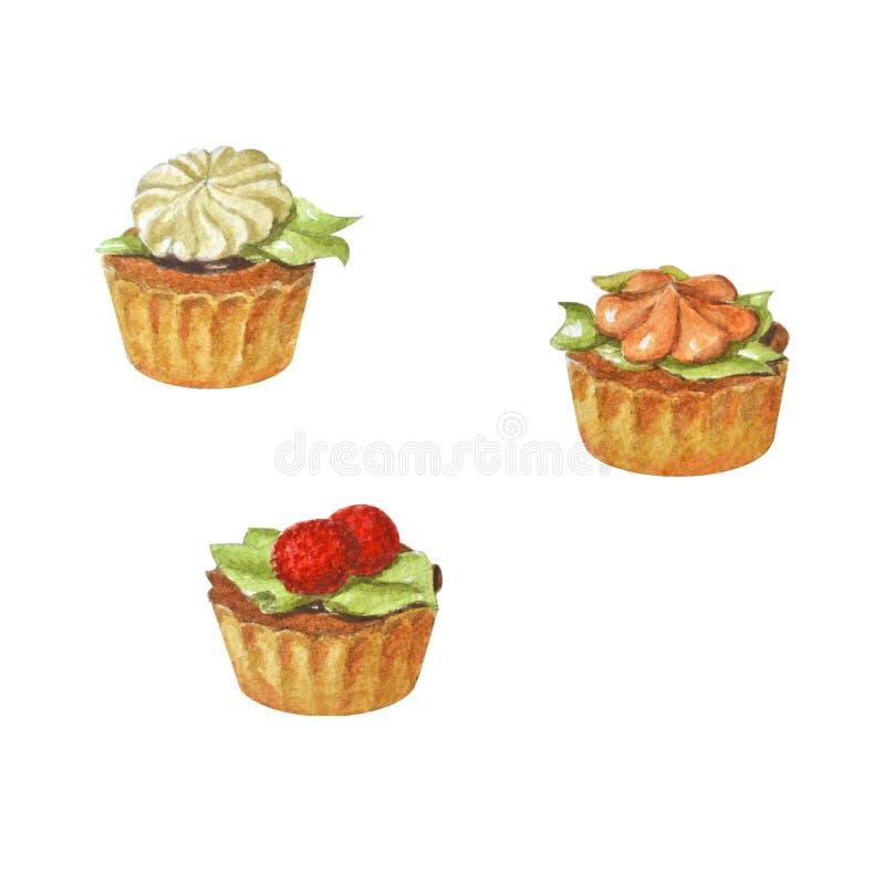 Gâteaux crèmes multicolores délicieux Bel ensemble d'aquarelle illustration libre de droits