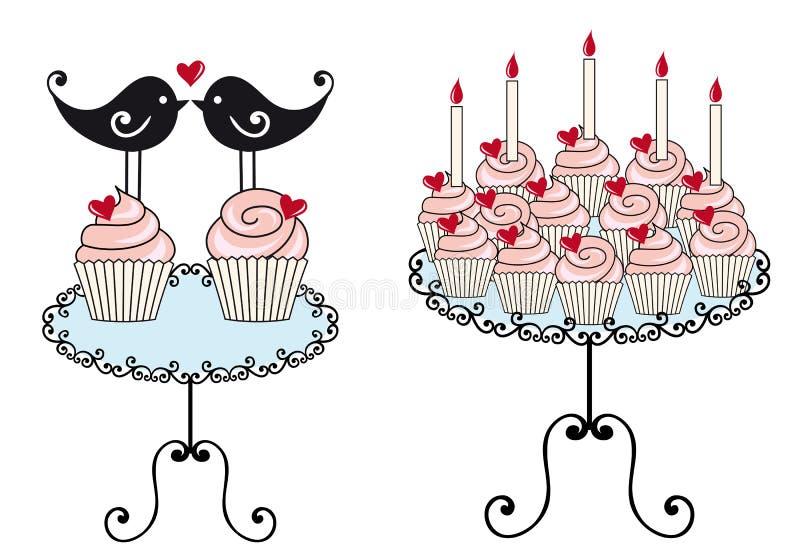 Gâteaux d'anniversaire,   illustration de vecteur