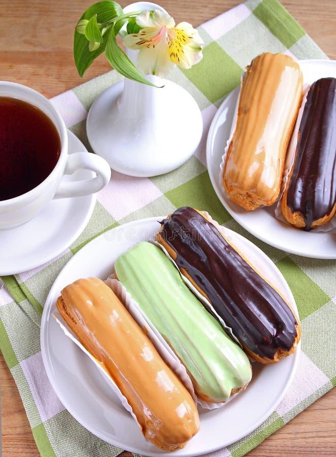 Gâteaux d'Eclair photographie stock