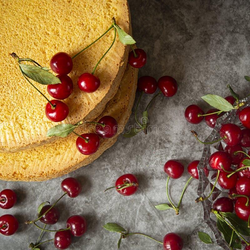 Gâteaux de biscuit avec des baies de cerise sur un fond foncé Cuisson, préparation des couches de l'éponge pour rassembler la cer image stock