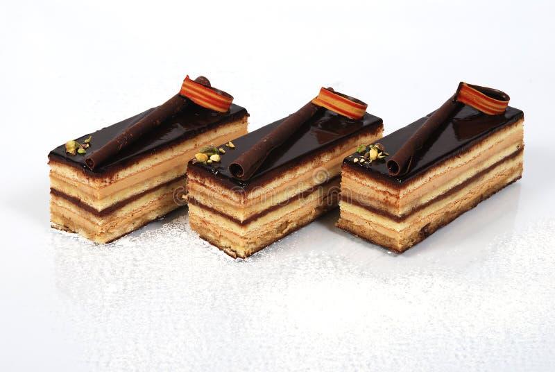 Gâteaux de chocolat floconneux photos libres de droits