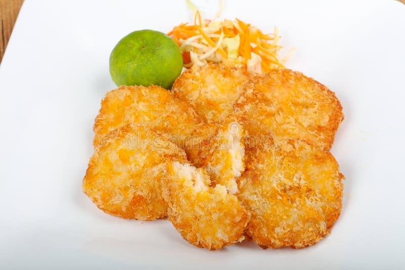 Gâteaux de crabe images stock