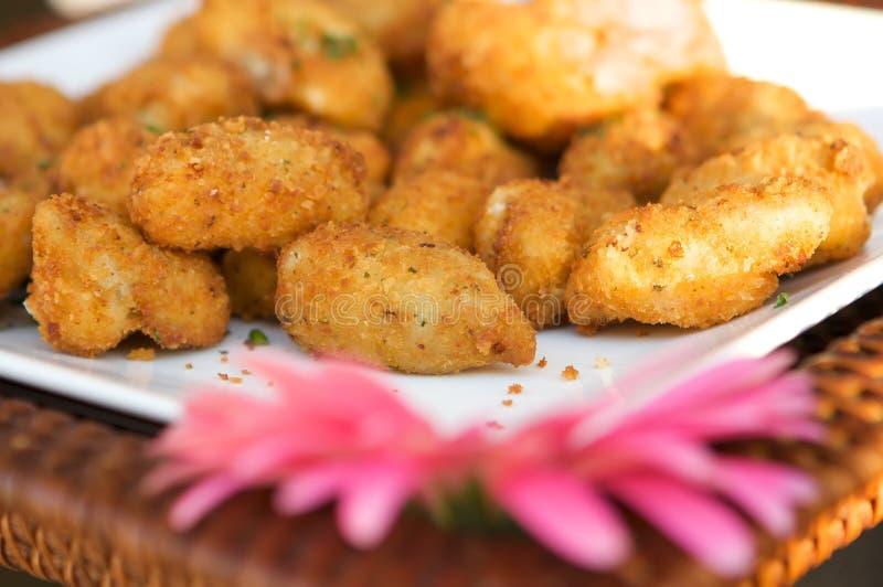 Gâteaux de crabe gastronomes miniatures photographie stock