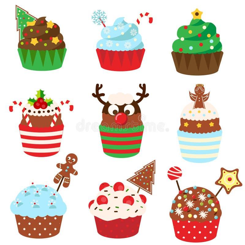 Gâteaux de Noël Boulangerie douce Nourriture de nouvelle année Icônes de Vetor illustration libre de droits