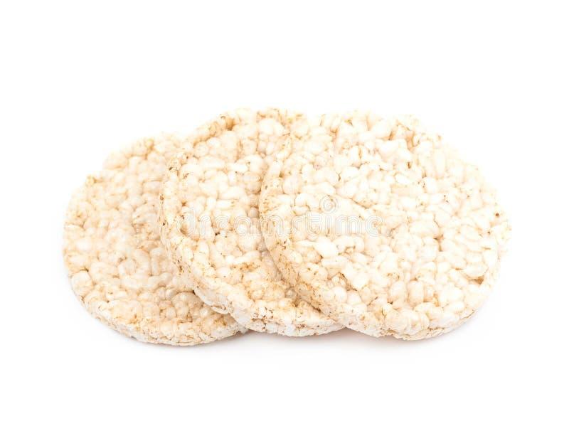 Gâteaux de riz sautés par air d'isolement photo libre de droits