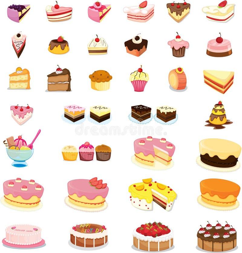 Gâteaux et desserts mélangés illustration stock