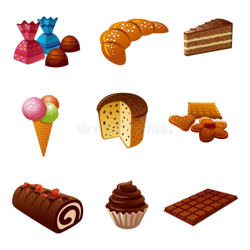Gâteaux et ensemble d'icône de sucrerie illustration libre de droits