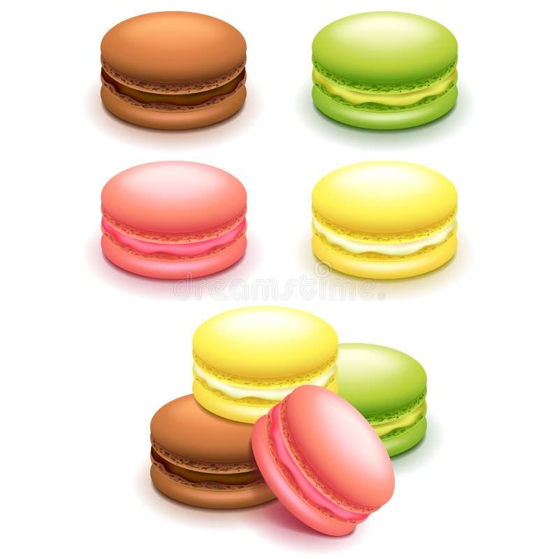 Gâteaux français de macaron réglés sur le vecteur blanc illustration de vecteur