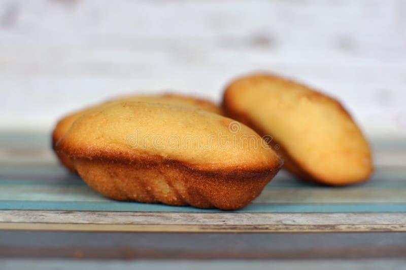 Gâteaux français traditionnels de Madeleine sur le fond en bois image stock