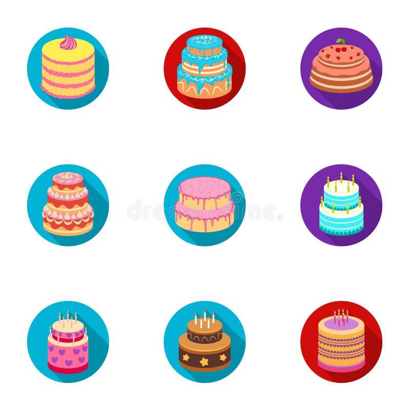 Gâteaux pour les vacances Un ensemble de différents bonbons Gâteaux et petits pains admirablement décorés Durcit l'icône dans la  illustration stock