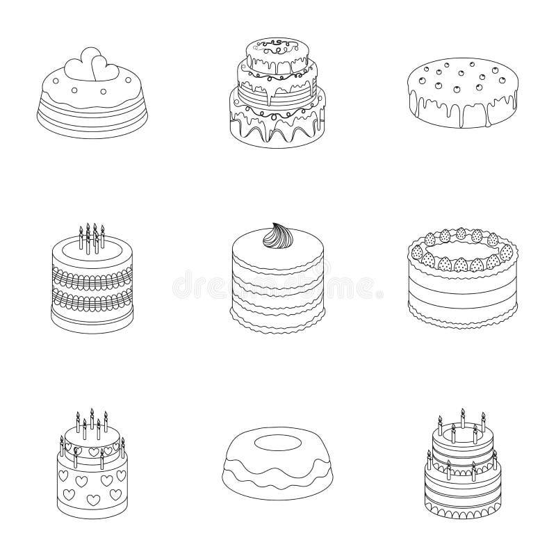 Gâteaux pour les vacances Un ensemble de différents bonbons Gâteaux et petits pains admirablement décorés Durcit l'icône dans la  illustration libre de droits