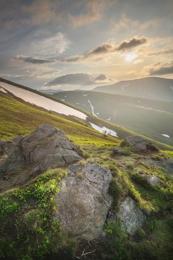 Góra Krajobraz Karpacki Gorgany, Ukraina Zdjęcie Stock