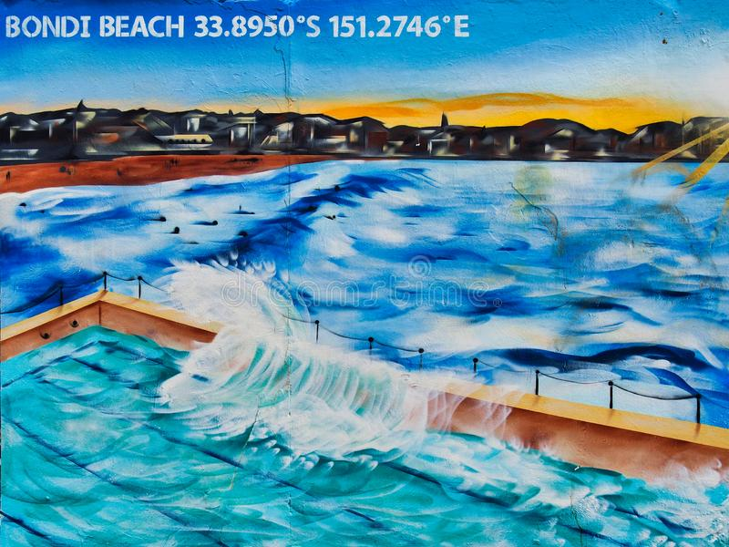 Góra lodowa oceanu basenu graffiti sztuka, Bondi plaża, Australia zdjęcia royalty free