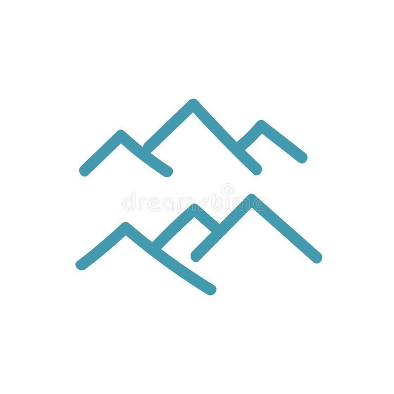 Góra szczytu symbol Ikona lub logo Kartograficzny desygnat Park Narodowy Rezerwat przyrody Podwyżki wycieczka wzgórza ilustracja wektor