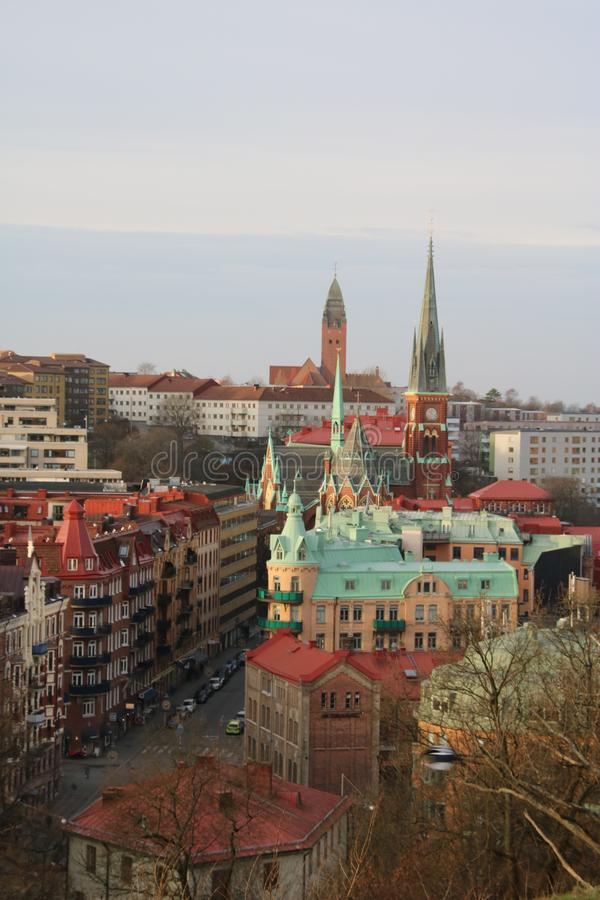 Göteborg topview cityscape de bouw in Zweden Goteborg stock fotografie
