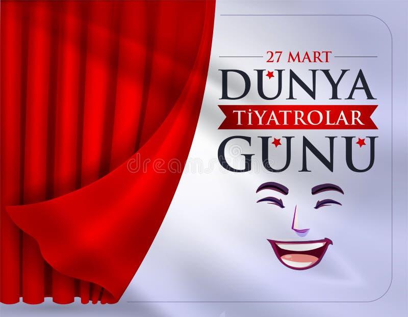 27 Gà hali targowej Dà ¼ nya Tiyatrolar ¼ nà ¼ Przekład: Marzec 27, Światowy theatre dzień royalty ilustracja