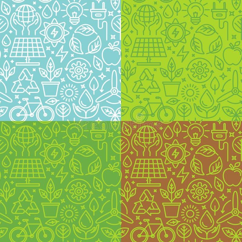 Gällde den sömlösa modellen för vektorn med linjära symboler grön energ royaltyfri illustrationer