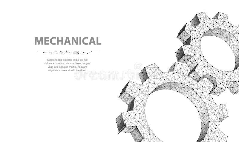 Gänge Wireframe zwei Vektor der Nahaufnahme abstrakter Gang Abbildung 3d getrennt auf Weiß lizenzfreie abbildung