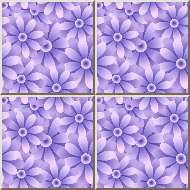 Gänseblümchen-Gartenblume des Keramikziegelmusters purpurrote blaue runde stock abbildung