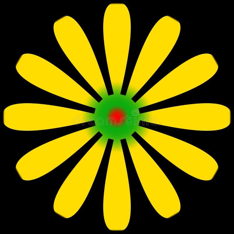 Gänseblümchenblume gelb und grün mit roter Mitte vektor abbildung