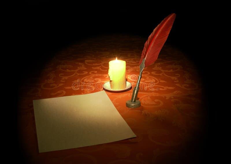 Gänsefeder, Kerze und Papierblatt stockfoto
