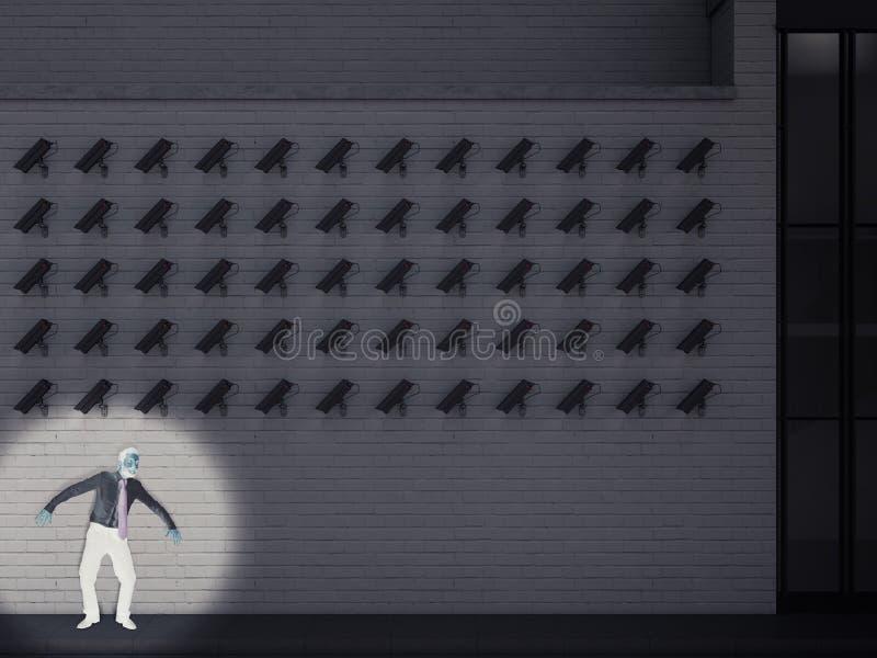 Gärningsman som fångas av kamerorna framförande 3d fotografering för bildbyråer