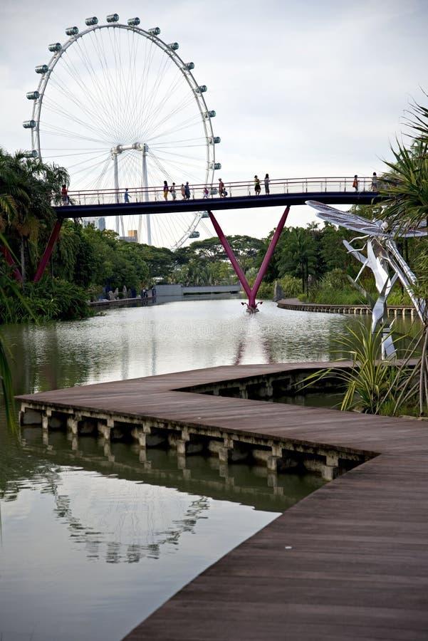 Gärten durch die Bucht u. den Singapur-Flieger, Singapur lizenzfreie stockfotos