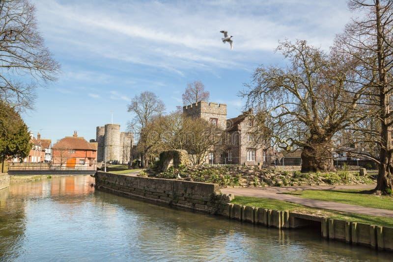 Gärten Riverwalk Canterburys Westgate stockfoto