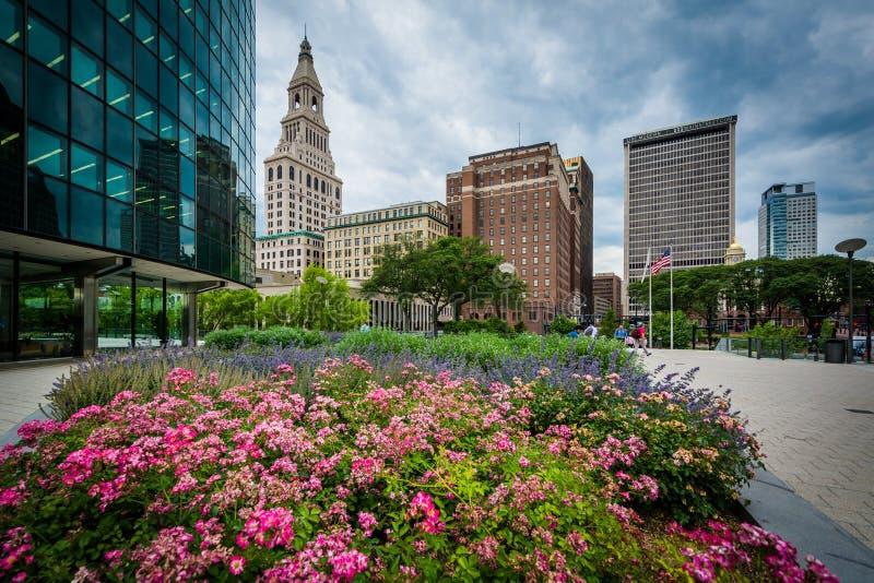 Gärten und Gebäude in im Stadtzentrum gelegenem Hartford, Connecticut stockbilder