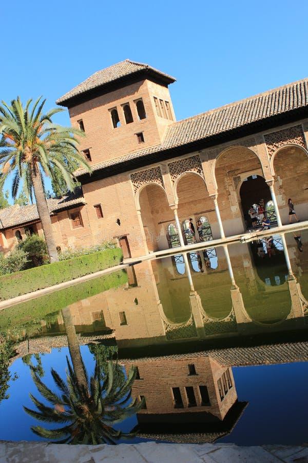 Gärten von Alhambra Palace in Granada Spanisch, Architektur stockfoto