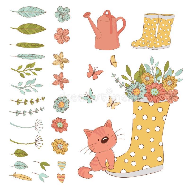GÄRTNER CAT Spring Care Accessories Vector-Illustrations-Satz vektor abbildung