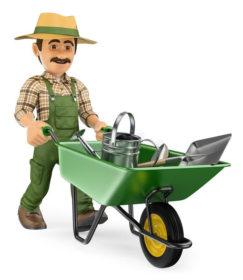 Gärtner 3D, der eine Schubkarre mit Gärtnerwerkzeugen drückt lizenzfreie abbildung