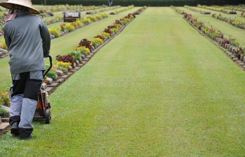 Gärtner, der an dem Rasen in einem Kirchhof mit Grundsteinen im Hintergrund arbeitet stockbild