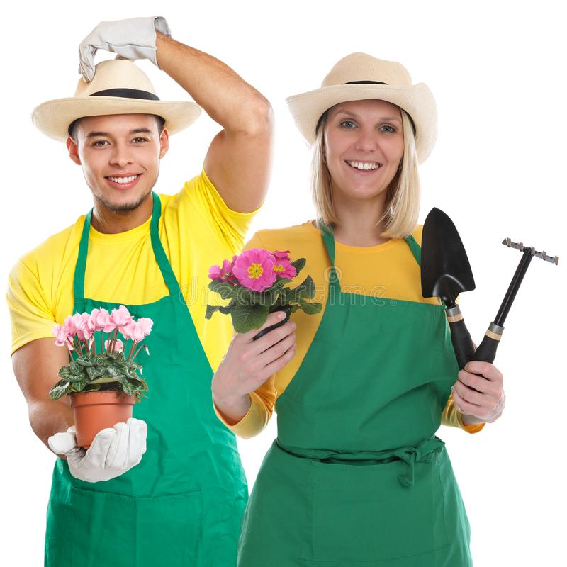 Gärtner gardner Team-Blumengartenarbeit-Gartenwerkzeug-Besetzungsjob lokalisiert auf Weiß stockfotos