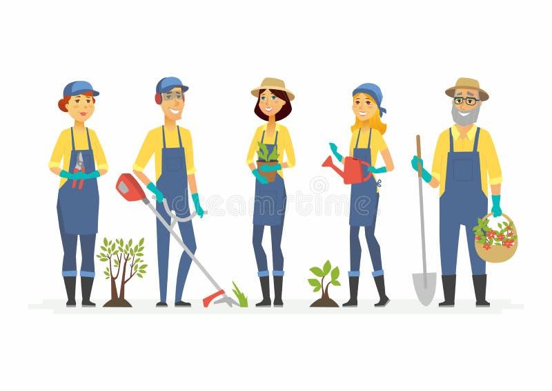 Gärtner mit Werkzeugen - Karikaturleutecharaktere lokalisierten Illustration stock abbildung