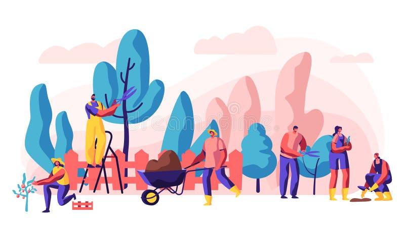 Gärtner Relaxing Activity auf Sommer-Häuschen Charakter, der schöne Blume, die Verpflanzung und das Interessieren des Baums und d lizenzfreie abbildung