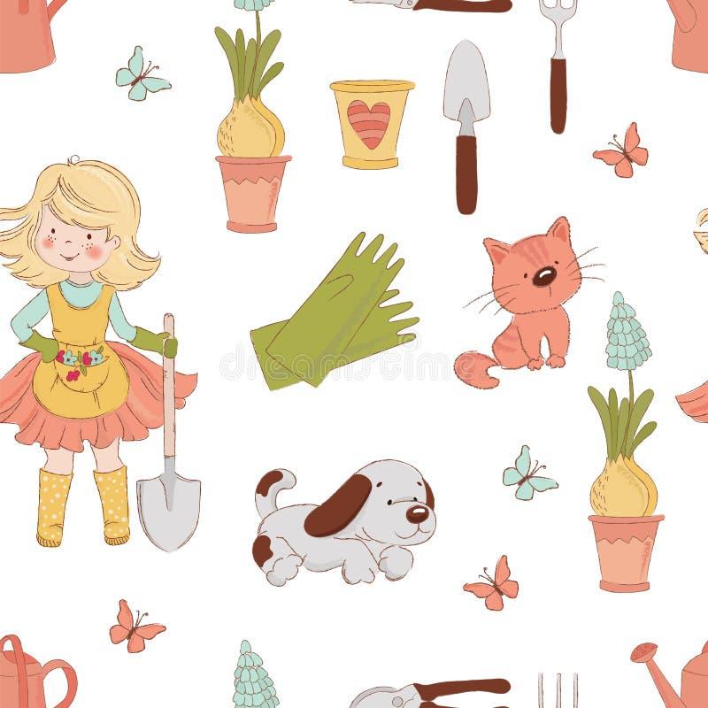 GÄRTNER Spring Work Seamless-Muster-Vektor-Illustration lizenzfreie abbildung
