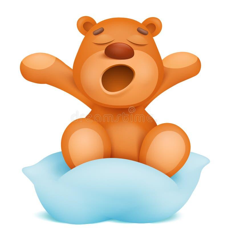 Gäspa sammanträde för tecken för tecknad film för nallebjörn på kudden stock illustrationer