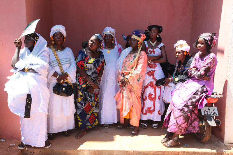 Gäste an einer Verbindung, Mali stockfoto