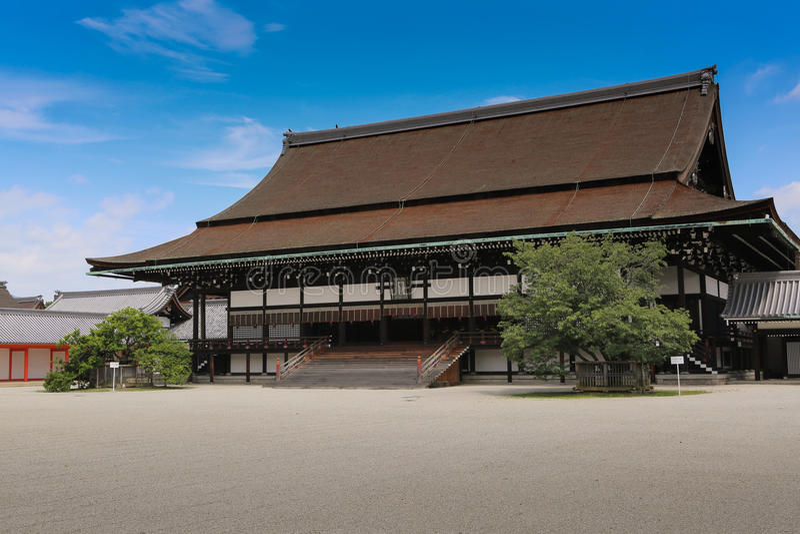 Gästhus i den imperialistiska slotten, Kyoto, Japan royaltyfri bild