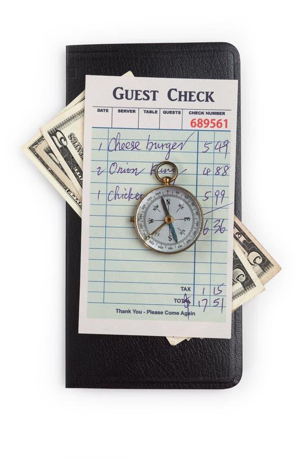 Gästkontroll och kompass arkivbilder