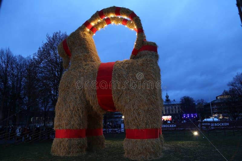 Gävlebocken (Gävle Goat) inaguration of 29 November 2015 in Gavle Sweden royalty free stock photos