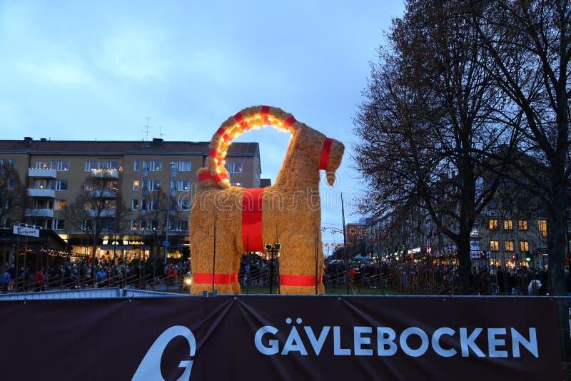 Gävlebocken (Gävle Goat) inaguration of 29 November 2015 in Gavle Sweden royalty free stock image